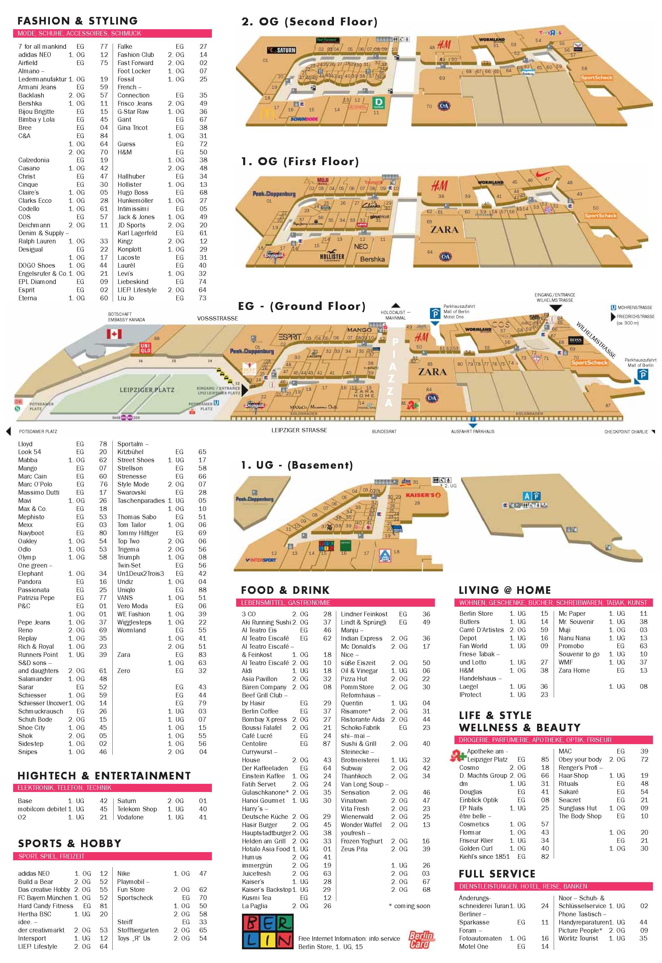 Selectedde Mall Of Berlin Selectedde - Mall of berlin map